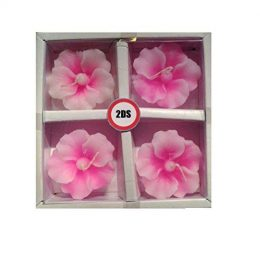 2ds Hibiscus floating candles pink