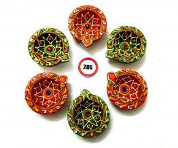2DS® Earthen Diya/Clay Diya/Terracotta Diya for Diwali Decoration Set of 6