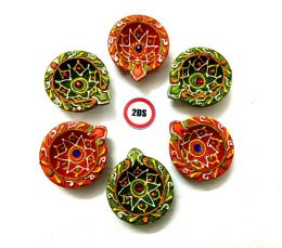 2DS® Earthen Diya/Clay Diya/Terracotta Diya for Diwali Decoration Set of 6